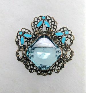 Antique Czech Aqua Glass Enamel Brooch for Sale in Hudson, FL