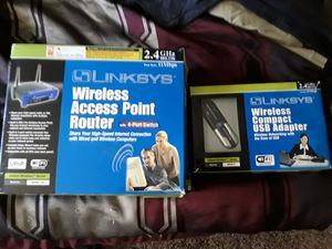 Linksys wireless router and adapter for Sale in Tempe, AZ