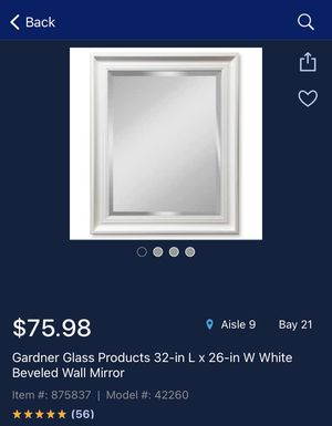 Gardner Glass Products 32-in L x 26-in W White Beveled Wall Mirror💥☄️🔥🔥 for Sale in Houston, TX