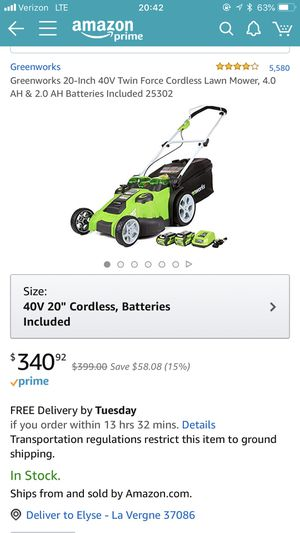 Green works cordless dual force lawn mower for Sale in La Vergne, TN