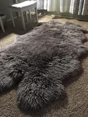 Quad Big grey sheepskin rug for Sale in Orangevale, CA