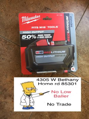 Milwaukee 12,0 18M Battery. (No Trade) Delivery is available for Sale in Glendale, AZ