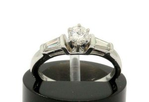 LCi Platinum .50 CTTW Round Baguette Diamond Wedding Engagement Ring G Si #31805 for Sale in Lawrence, NY