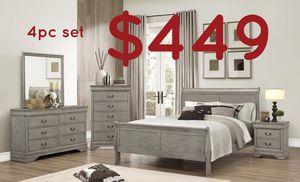 Rustic grey queen 4pc sleigh bedroom set for Sale in Fontana, CA