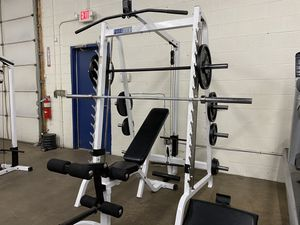 Heavy Duty Parabody Smith machine/ 300lb weights/ weight bench for Sale in Canton, MI