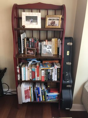 Bookshelf - red with brown shelves for Sale in Chicago, IL