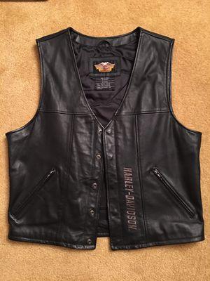 Men's Large Harley Davidson Black leather Vest for Sale in Silver Spring, MD