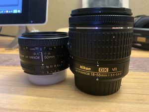 Two Nikon manual focus lenses. 50 mm & 18-55 mm for Sale in Dallas, TX