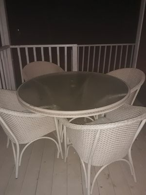 Wicker style outdoor table and chairs for Sale in Winchester, VA