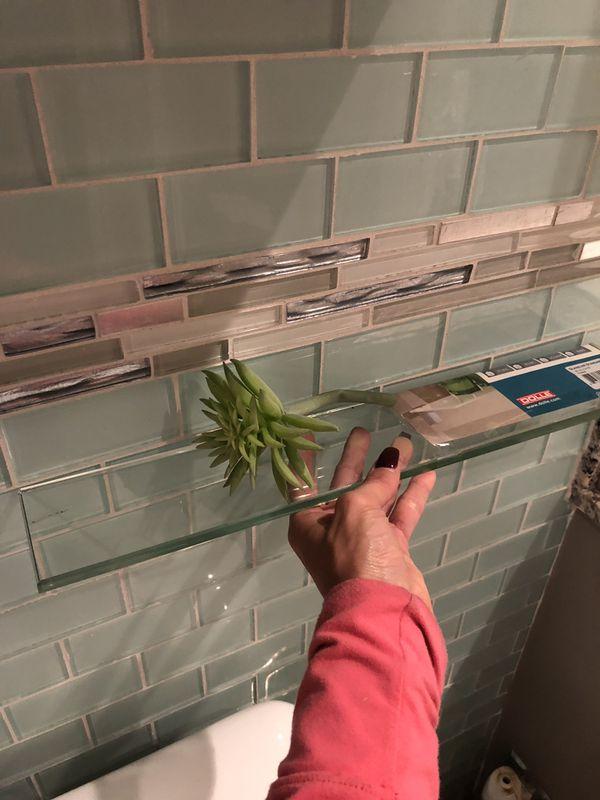 Long glass shelf with hardware and brackets flac kitchen bathroom organization
