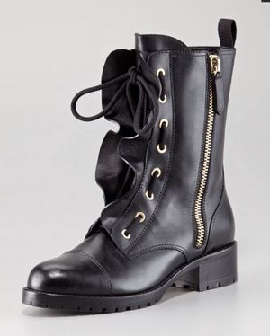 Valentino ruffled lace-up biker boots size 37.5 for Sale in Gardena, CA