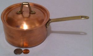 "Vintage Metal Copper and Brass Cooking Pot, Paul Revere, Quality Copper, Made in USA, 10"" Long and 5 1/2"" x 3"" Pot Size, Heavy Duty Quality, Kitchen for Sale in Lakeside, CA"