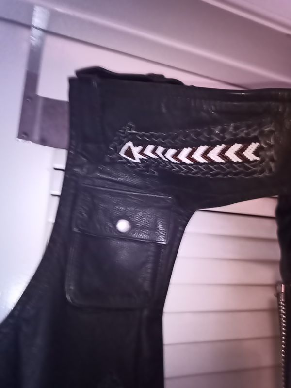 Leather chaps with fringe