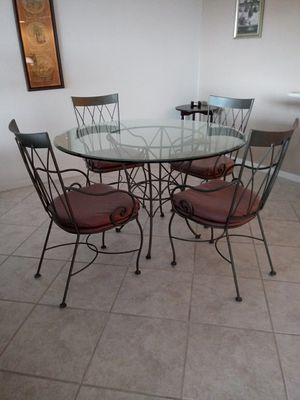 Dining Table - Glass & Iron for Sale in PT CANAVERAL, FL