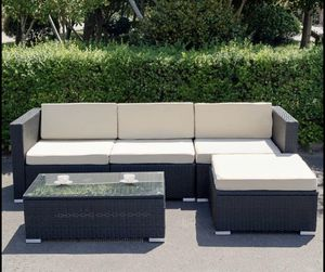 Outdoor Rattan Patio Furniture Black or Brown Cushioned Sectional Sofa Coffee Table for Sale in Sacramento, CA