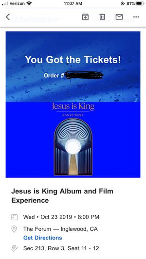 Kanye West Jesus is King 4 tickets for Sale in Long Beach, CA