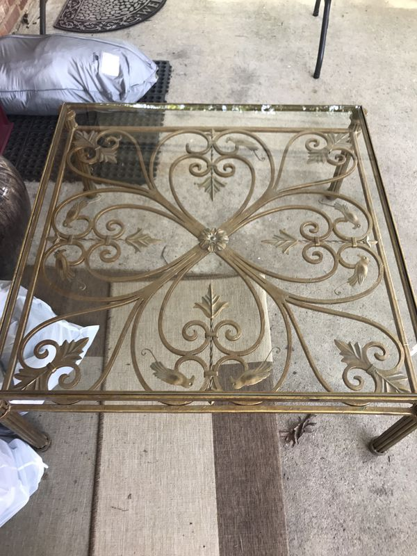 Gorgeous antique wrought iron table glass top gold tone rustic home decor vintage coffee table indoor outdoor furniture