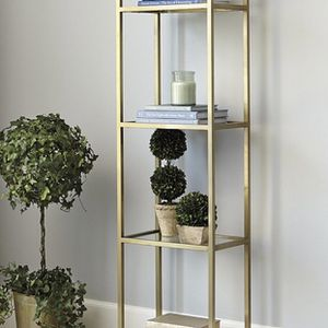 Designer Brass Gold Glass Etagere Bookshelf (2 available) for Sale in Calabasas, CA