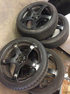 """Black 5 spoke rims and 18"""" tires for Sale in Santa Monica, CA"""