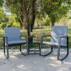 SHIPPING ONLY 3 Piece Patio Furniture Set Rocking Chairs and Table for Outdoor Areas for Sale in Las Vegas, NV