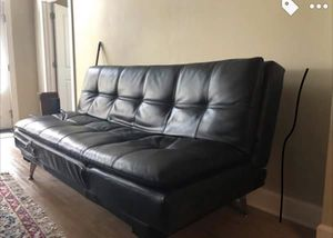 Black leather futon/couch for Sale in New Orleans, LA