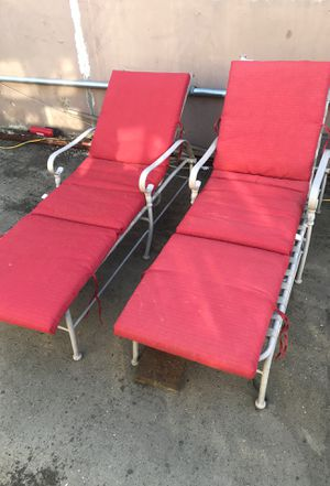 Patio furniture. Reclining chairs / pool chairs/ aluminum. Cushions need washing for Sale in Sacramento, CA