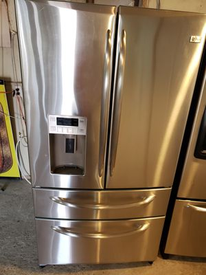 General electric profile 4 doors refrigerator stainless steel warranty financing $50 down payment if you qualify for Sale in Ceres, CA