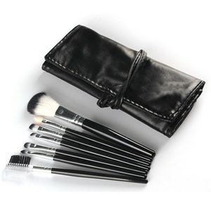 Brandnew 7pc black makeup brushes with leather organizer pouch for Sale in Puyallup, WA