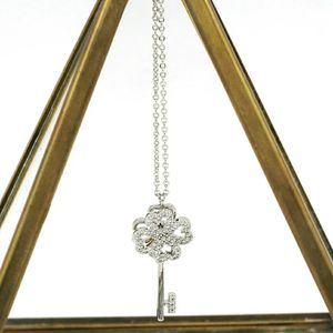 Silver four-leaf clover crystal key necklace for Sale in Redwood City, CA