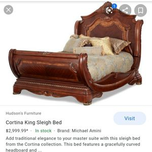 AICO Michael Amini 3pc Cortina King Size Sleigh Bedroom Set in Honey Walnut Finish for Sale in Lakewood, NY