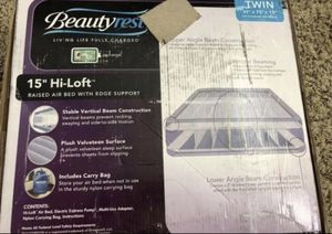 Simmons beautyrest hi loft raised air bed mattress with express pump, twin size for Sale in San Antonio, TX