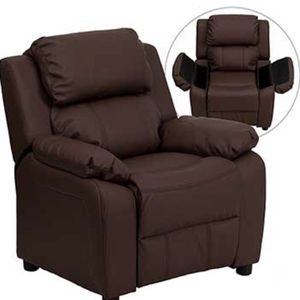 Deluxe Padded Contemporary Kids Recliner with Storage Arms, Leather, Brown for Sale in Fort Belvoir, VA