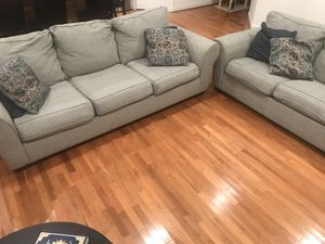 2 gray sofas (price is for both) for Sale in Raleigh, NC