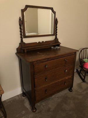Antique Wood Bed Frame (Dbl) & Dresser for Sale in Beaverton, OR