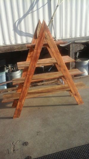 Handmade rustic wooden A-frame shelf unit for Sale in San Antonio, TX