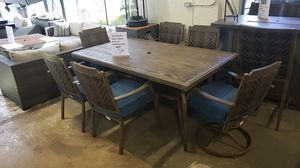 Brand New Outdoor Patio Furniture 7pc Dining table set 2 arm swivel and 4 stationary chairs tax included free delivery for Sale in Hayward, CA