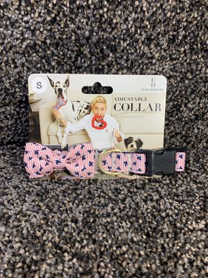 GORGEOUS BOW DOG COLLAR BY ELLEN DEGENERES. Size : small Blue, pink & white Gold buckle Fast shipping for Sale in Dundalk, MD