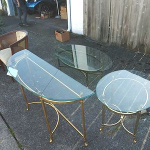 Brass Coffee Beveled Glass Table for Sale in Tacoma, WA