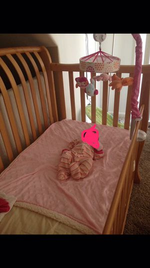 Solid Wood Baby Crib with (2) Standard Mattress for Sale in Montgomery Village, MD