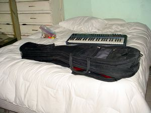 BASS GUITAR CASE WHICH HOLDS 2 BASS GUITARS WITH HEAVY ZIPPERS for Sale in Las Vegas, NV