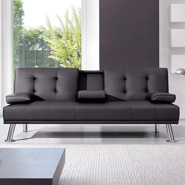$190 (new in box) convertible folding futon sofa bed recliner couch 65x30x31 inches, max 500 lbs