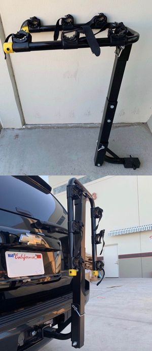 New in box 3 Bikes Carrier Rack standard hitch receiver mount travel holds 3 road mountain beach cruiser bicycle for Sale in Whittier, CA