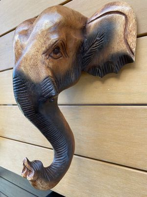 Elephant Head Wall Hanging Hand Carved Wooden Statue Sculpture Collectible for Sale in University Place, WA