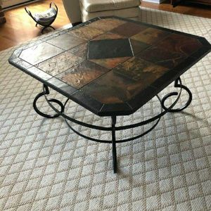 "Square 40"" Wrought Iron & Slate Coffee Table By Durban for Sale in Lemont, IL"