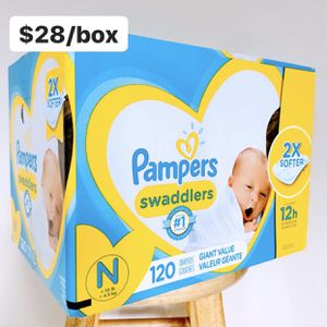 Newborn (Up to 10lbs) Pampers Swaddlers (120 baby diapers) *PROMO* BUY ANY 2 PAMPERS BRAND BIG BOXES, GET 1 FREE HUGGIES TUB 64ct for Sale in Anaheim, CA