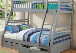 Bunk bed Twin Full with Storage drawers Free Mattress NAVY OR GRAY for Sale in Atlanta, GA