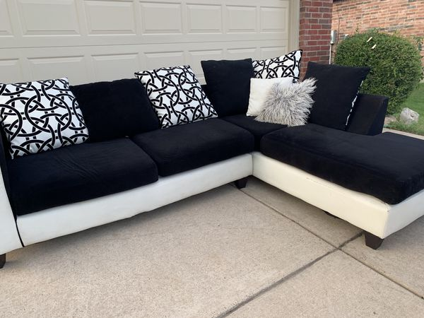Black and white sectional couch sofa