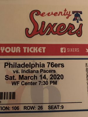 76ers vs Indiana Pacers 2 tickets for Sale in Reading, PA