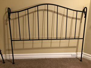 Beautiful Restoration Hardware Queen-size black iron bed - headboard, footboard, and side support braces - total bed frame. All mat black for Sale in Issaquah, WA