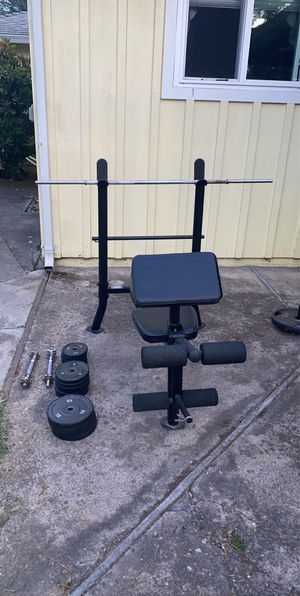 Bench and Curl Stand w/ Weight Plates, Bar, and Handbars for Sale in Stockton, CA